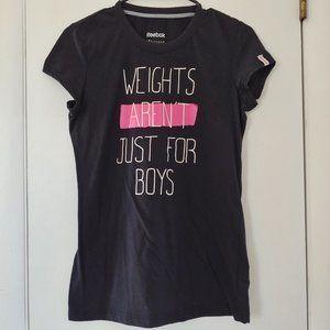 reebok nwot black weights quote crew neck t-shirt